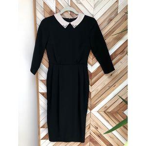 black dress contrast collar | asos | 2